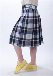 Клетчатая юбка в складку на кокетке - фото 5108