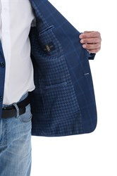 Синий клетчатый пиджак под джинсы Мольер - фото 5363