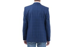 Синий клетчатый пиджак под джинсы Мольер - фото 5364