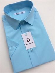 Сорочка мужская короткий рукав бирюзовая