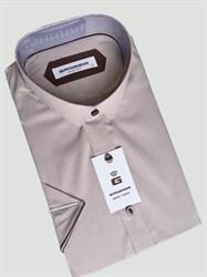 Сорочка мужская короткий рукав коричневая в клетку