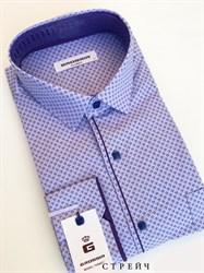 Мужская сорочка сиреневая с кнопками